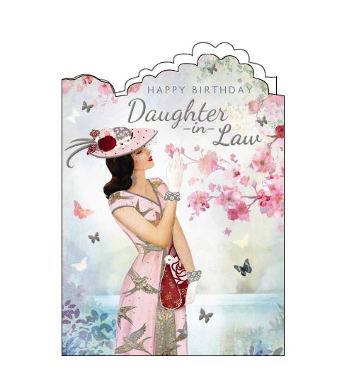 A stunning birthday card for an elegant Daughter in Law. An artwork by Claire Coxon on the shows a woman in a pink dress and hat reaching up to look at pink blossoms on a tree. Silver text on the front of the card reads