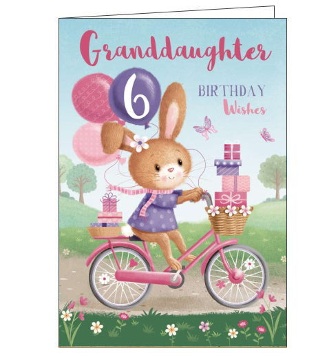 This 6th Birthday card for a special Granddaughter shows a rabbit in a purple jumper, with a flower in her hair, riding a pink bike. Text on the front of the card reads