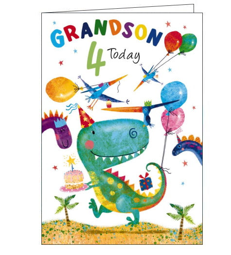 This 4th Birthday card for a Grandson shows a happy looking t-rex dinosaur in a party hat, carrying a birthday cake. Dinosaur friends and balloons surround him. The text on the front of the card reads