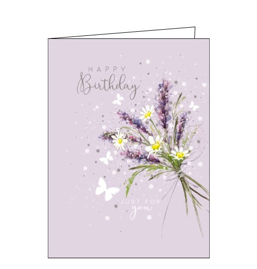 This beautiful birthday card features an illustration by Franny Lee of tiny butterflies flittering around a bouquet of lavender and daisies. Silver text on the front of the card reads