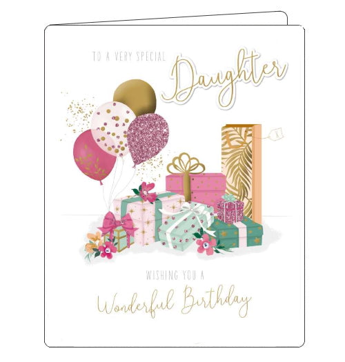 This lovely birthday card for a special Daughter is decorated a pile of beautifully wrapped birthday gifts and a bunch of pink and gold birthday balloons. Gold text on the front of the card reads
