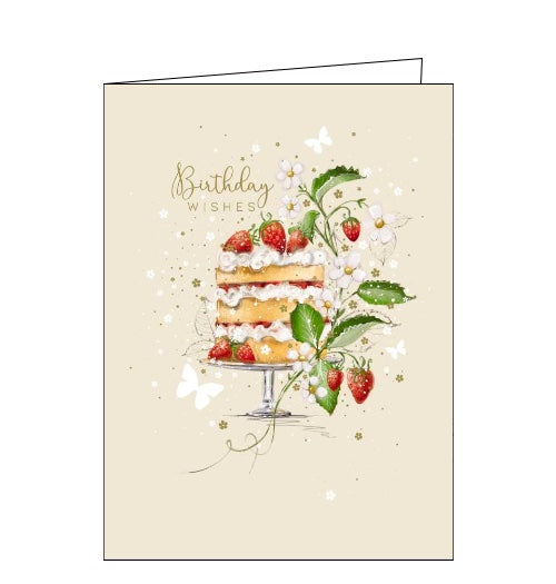 This beautiful birthday card features an illustration by Franny Lee of a three-tiered victoria sponge cake, layered with cream and jam, and decorated with a vine of strawberries. Gold text on the front of the card reads