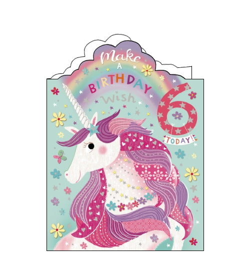 Noel Tatt unicorn 6th birthday card