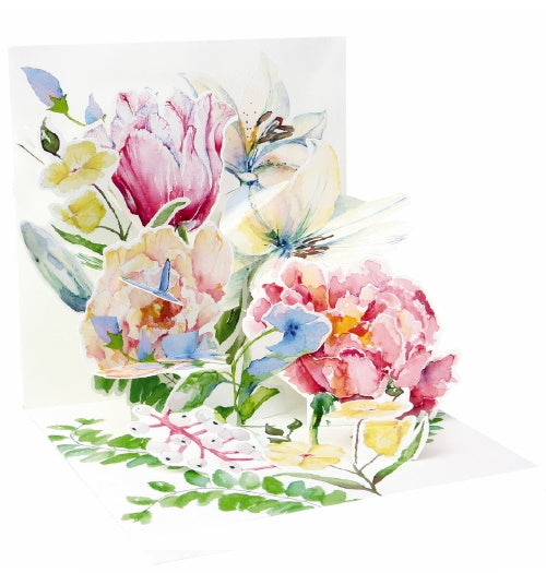 NoelTatt with paper pop up card florals peonies lillies butterflies