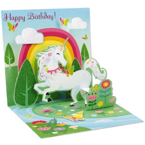 This pop up birthday card is a work of art. The card lifts up to reveal a unicorn prancing through a garden of flowers, surrounded by butterflies and with a rainbow behind her. The card is truly collectable and will be treasured for years to come. Can be kept flat and opened when required, recreating the occasion.