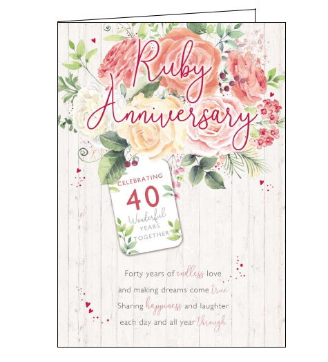 Noel Tatt 40 wonderful years together ruby anniversary card Nickery Nook