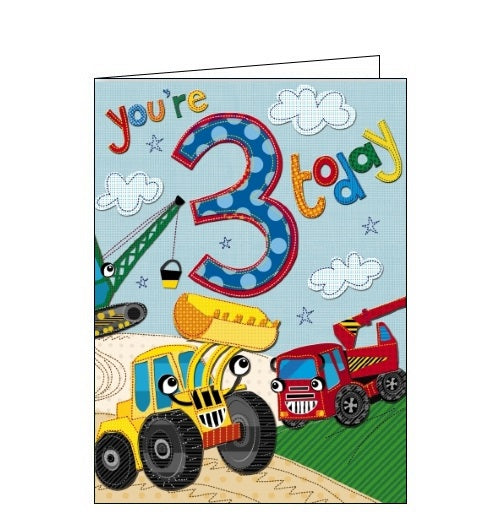Noel Tatt Doodle Pip tractors diggers cranes machines 3 today Happy 3rd Birthday card Nickery Nook