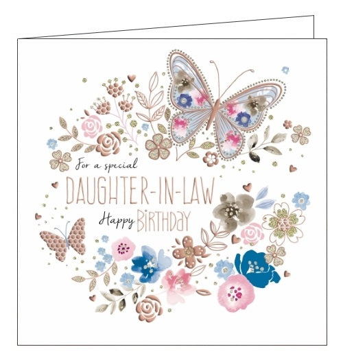 Noel Tatt Jo Spicer rose gold butterflies flowers Daughter-in-Law birthday card Nickery Nook