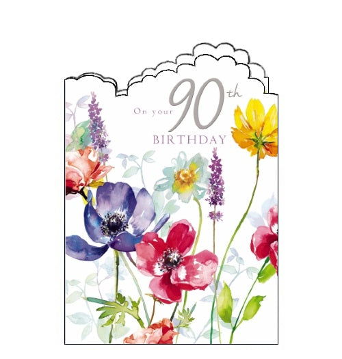Noel Tatt flowers florals on your 90th birthday card Nickery Nook