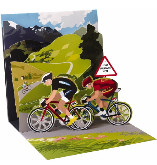 Noel Tatt with paper pop up cycling bikes birthday card Nickery Nook