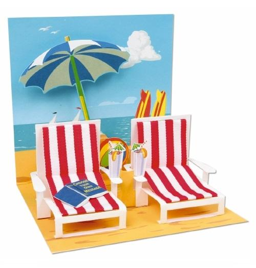 Noel Tatt with paper pop up happy birthday anniversary retirement beach card Nickery Nook