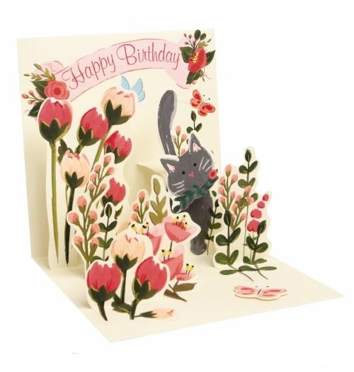 Noel Tatt with paper pop up happy birthday cats kitten flowers birthday card