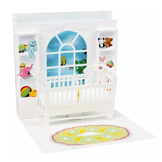 Noel Tatt with paper pop up new baby card Nickery Nook