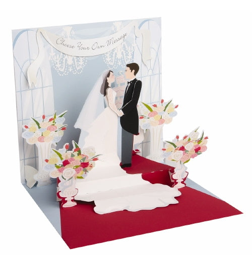 Noel Tatt with paper pop up wedding day bride and groom card