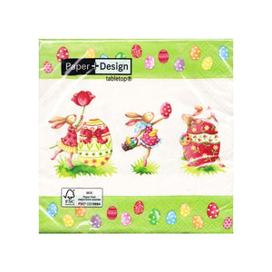 This pack of 20 disposable Easter napkins is decorated with a group of easter bunnies delivering easter eggs and dancing around huge eggs. The napkins have a green border dappled with colourful easter eggs.