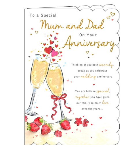 Piccadilly Goldmark mum and dad on your anniversary card Nickery Nook