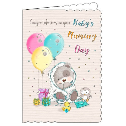 Piccadilly toggles and friends congratulations on your baby's naming day card Nickery Nook