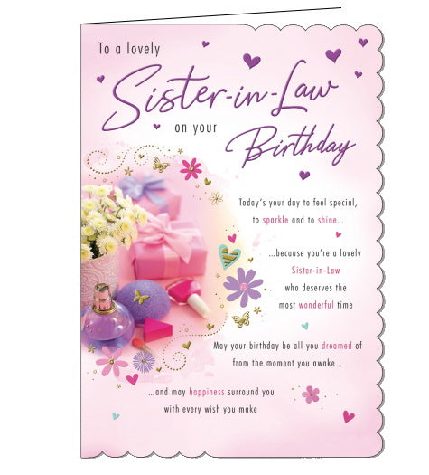 Piccadilly sister in law birthday card