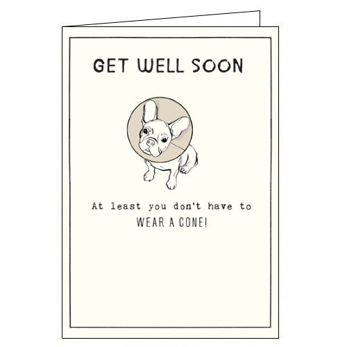 Pigment Etched dog in a cone get well soon card