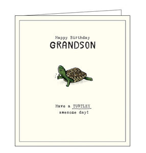 Pigment Etched turtley awesome grandson birthday card