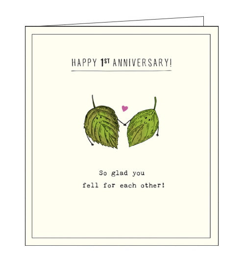 Pigment etched 1st anniversary card