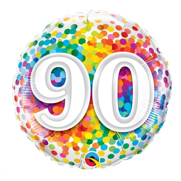 90th Birthday Helium Balloons - Various Designs