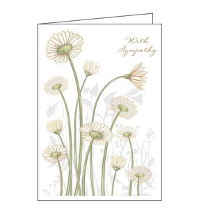 Quire cards with sympathy daisies sympathy card Nickery Nook gold