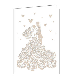 Quire cards laser cut bride and groom wedding card