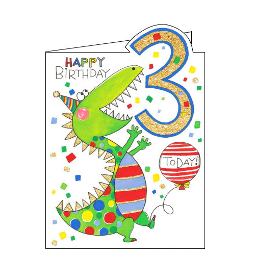 Rachel Ellen dinosaur boys 3rd birthday card