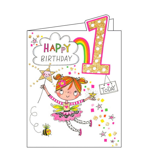 Rachel Ellen fairy girls 1st birthday card