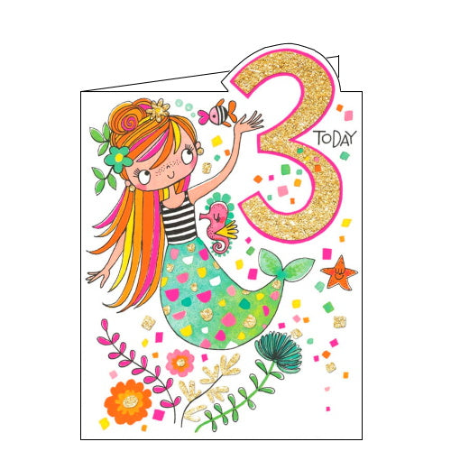 Rachel Ellen mermaid 3rd birthday card