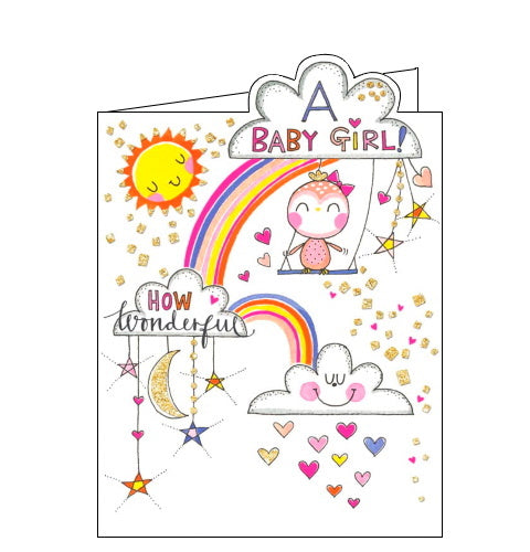 A pink owl sits on a swing hanging from a fluffy white cloud, surrounded by rainbows and glittery gold stars on the front of this card to celebrate the arrival of a new baby girl. The text on the front of this new baby card reads