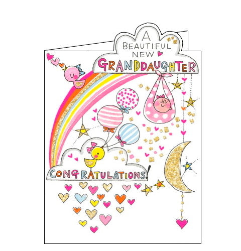 A baby girl floats up into the sky on this cute and sparkly greetings card to celebrate the arrival of a new baby granddaughter, passing by a rainbow, the moon and gold, glittery stars. The text on the front of this new baby card reads