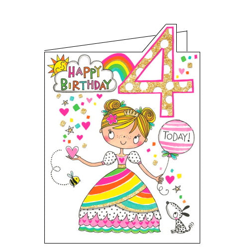 Rachel Ellen princess 4th birthday card