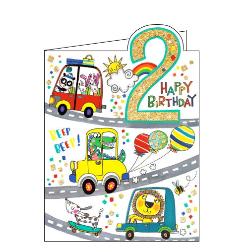 Rachel Ellen traffic jam 2nd birthday card