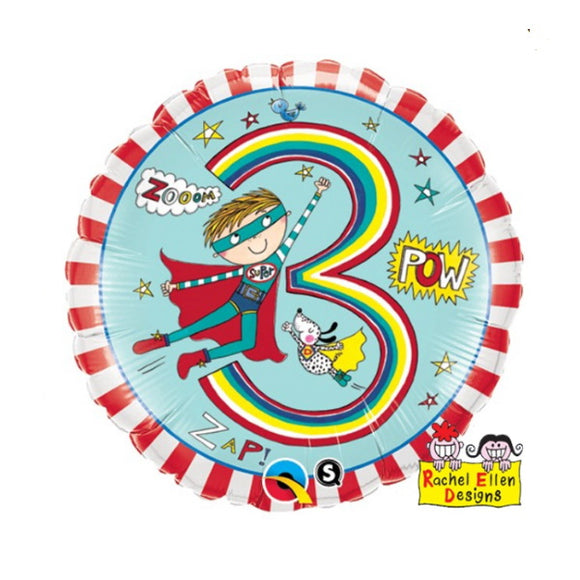 3rd Birthday Helium Balloons - Various Designs