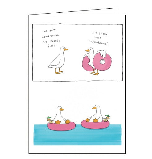 Redback Liz Climo card ducks with cupholders