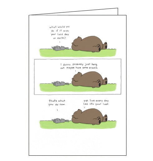 Redback Liz Climo card hang out have some snacks