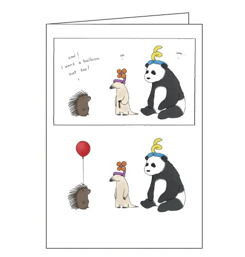 Redback Liz Climo hedgehog balloon hat card