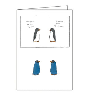 Redback Liz Climo penguins and leg warmers funny cute blank card