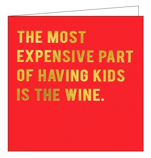 Redback Cloud Nine the most expensive part of having kids is the wine blank card Nickery Nook