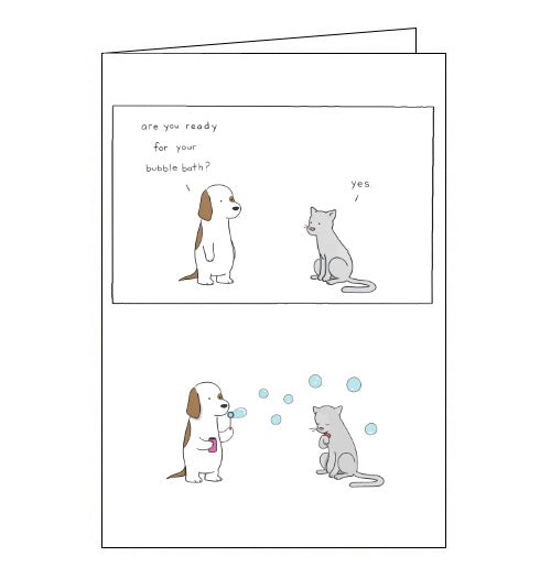Redback Liz Climo cats and dogs bubble bath blank card Nickery Nook