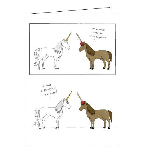 Redback Liz Climo unicorn plunger blank card Nickery Nook