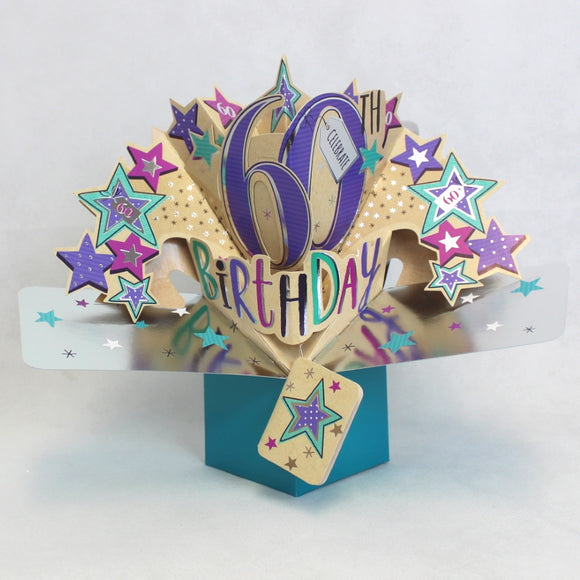 Second Nature 60th birthday pop up card Nickery Nook
