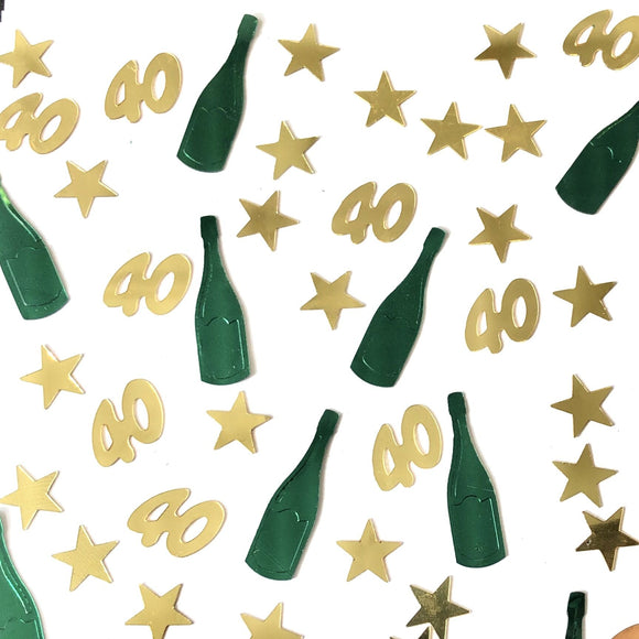 Perfect for decorating a 40th birthday table, this packet of 40th birthday table confetti contains a mixture of metallic gold stars and