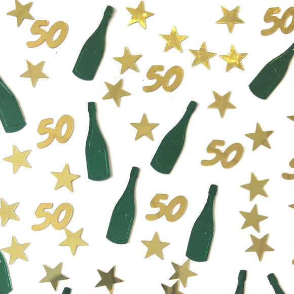 Perfect for decorating a 50th birthday table, this packet of 50th birthday table confetti contains a mixture of metallic gold stars and
