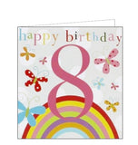 Think of Me Kids 8th birthday happy 8th birthday 8 today birthday cards butterflies and rainbows Nickery Nook new
