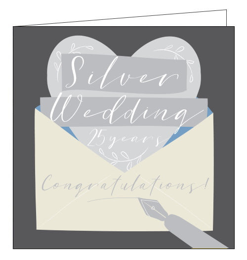 Think of Me 25th wedding anniversary card silver wedding anniversary card