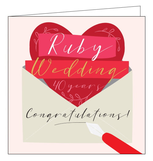 Think of Me 40th wedding anniversary card ruby wedding anniversary card