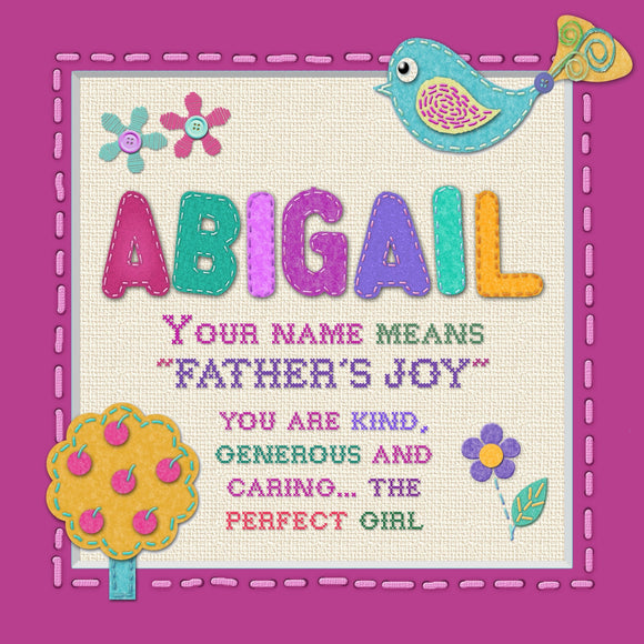 Tidybirds Heartfelt Names girls names plaques name definitions ABIGAIL Nickery Nook